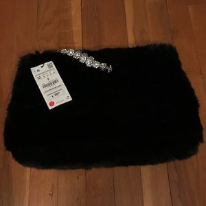 NWT Zara Large Faux Fur Bracelet Wristlet Clutch